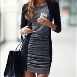 Express grey and black body on dress